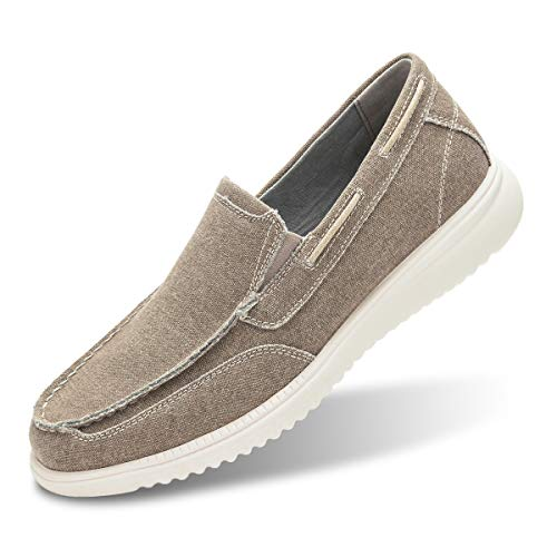 Men's Boat Shoes Slip On-Smart Casual Work Loafer Stylish Moc Toe Walking Driving Shoes Khaki - Non Shoes Slip Boat