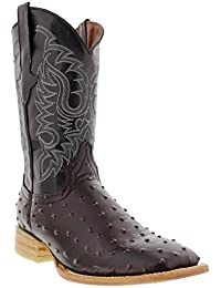 Texas Legacy - Mens Ostrich Quill Design Leather Cowboy Boots Square Toe
