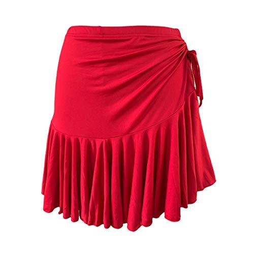 Women Latin Dance Dress Training Dress Ballroom Costume Dance Practice Skirt (X-Small, Red)