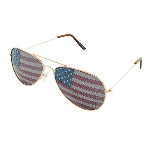 Super Z Outlet American USA Flag Design Metal Frame Aviator Unisex Sunglasses with Print Patterned Lens for Sun Protection, Driving, Eye Wear (Gold) -