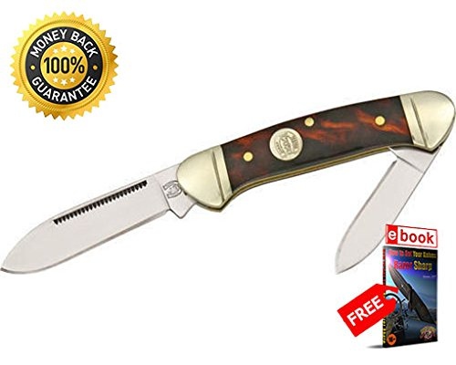 Imitation Tortoise Shell - Rough Rider Folding Utility Knife 506 Folding Knife Mini Canoe Imitation Tortoise Shell Handle razor sharp knife strong carbon blade survival camping hunting EDC military knife eBOOK by MOON KNIVES