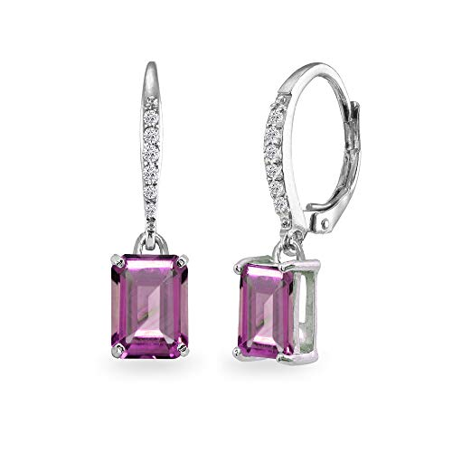 (Sterling Silver Simulated Alexandrite & Cubic Zirconia 8x6mm Octagon-cut Polished Dangle Leverback Earrings)
