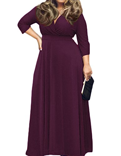 POSESHE Women's Solid V-Neck 3/4 Sleeve Plus Size Evening Party Maxi Dress (2XL, 01 Purple)
