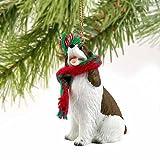 Springer Spaniel Miniature Dog Ornament - Liver & White