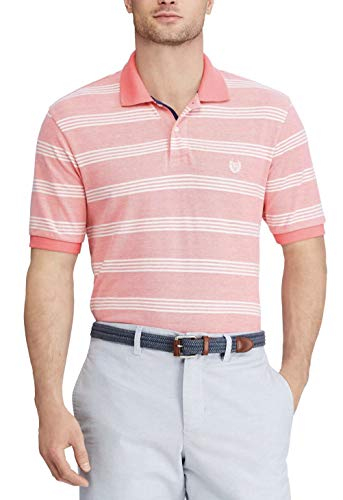 - Chaps Men's Classic-Fit Pastel Pique Polo (Striped Sunset Rose, Large)