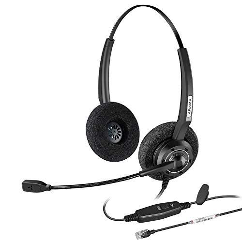 Arama Corded Telephone Headset w/Noise-Cancelling Mic & Volume Mute Control for Nortel Polycom Plantronics ShoreTel Zultys Toshiba Aspire Dterm Norstar Meridian Siemens Landline Desk Phone - Canceling Noise Handset Nec