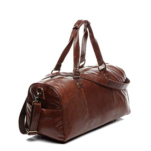 SID & VAIN Reisetasche echt Leder Linus XL groß Sporttasche groß Weekender Laptopfach Ledertasche Herren 58 cm braun