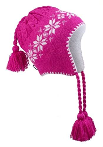 Amazon.com  Pink Winter Hat - White Flowers   Trim with Inside ... 5120d10fe60