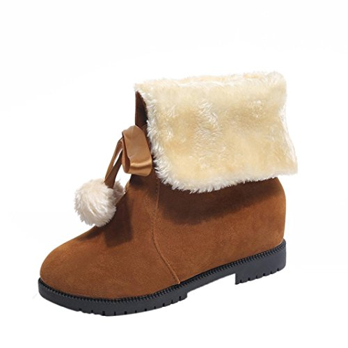 Kolylong Women Winter Warm Bowknot Snow Boots Flats Shoes Brown 2 5Q0eYA7