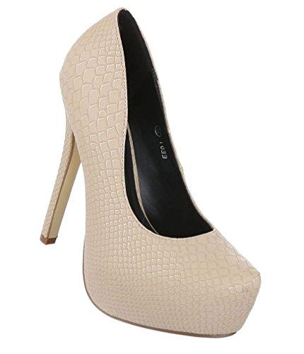 Damen Pumps Schuhe Elegant High Heels Plateau Beige