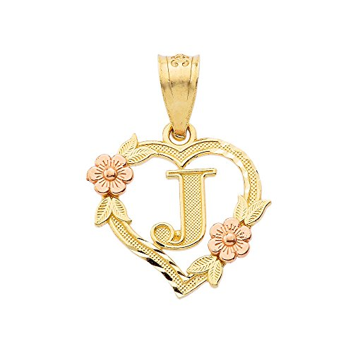 10k Two-Tone Initial Heart Pendant for Women in Yellow and Rose Gold - Letter J ()