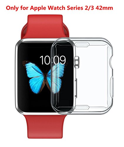 for iWatch Clear Protector Case HP95(TM) Soft Ultra-Slim Clear Full Cover TPU Case Frame For Apple Watch Series 2/3 42mm & 38mm-360 Degree Full Protection (For iWatch Series 2/3 42mm) by HP95 (Image #8)