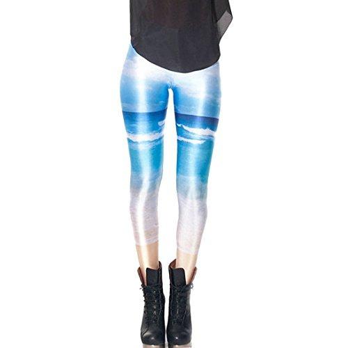 Avitalk–Mallas Sexy impresión polainas pantalones Stretch Mujer–19colores–talla única, Azul playa,...