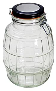 Housewares International 104-Ounce Old Fashioned Barrel Style Glass Storage Jar with Metal Clip Lid, Round