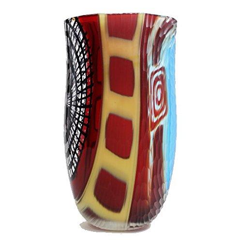ムラーノガラス花瓶「Rainbow V01」 イタリア製 花器 フラワーベース ヴェネチアングラス アート 個性派 オブジェ B0723D8G43