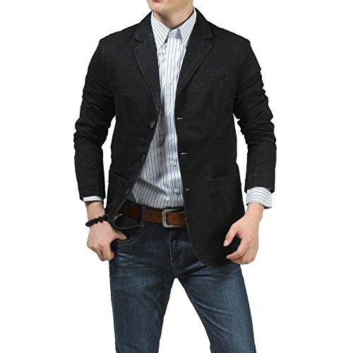 Cccken Men's Casual Dress Slim Fit Stylish Top Suit Blazer Jacket Coat(817 Black US XL=Asia XXXL(chest:46.8in))