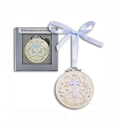 DG Shopping Spree Blue God Bless Baby Keepsake Medallion ()