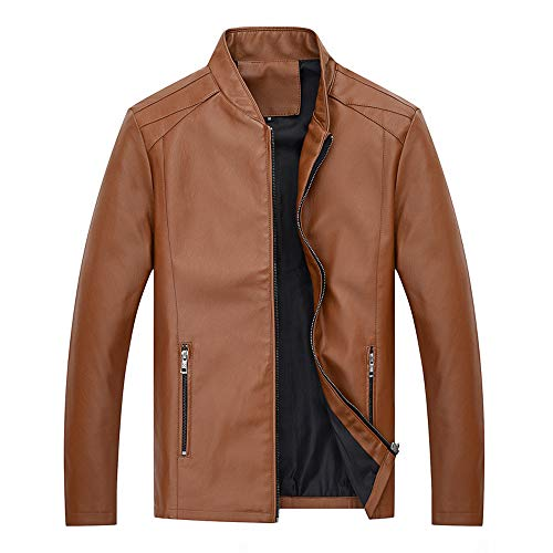 - Men's Leather Jacket Performance Trucker Jacket Autumn Winter Business Outerwear Top Blouse Bomber Jacket YOcheerful(Brown,M)