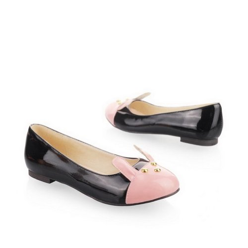 AmoonyFashion Womens Closed Round Toe Low Heel PU Patent Leather Assorted Colors Pumps Pink ZUxfUB9ZeC