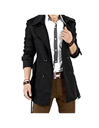 SODIAL(R) Mens Winter Slim Double Breasted Trench Coat Long Jacket Overcoat Outwear Black Size M/US XS