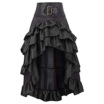 Kuerqi Graysky Women's Renaissance Vintage Ruffles Patchwork Irregular Retro Cupcake Ankle-Length Skirt, Gothic Middle Ages Noble Pleated Bust Skirt Victorian Party Cosplay Masquerade Costume Dresses: Sports & Outdoors