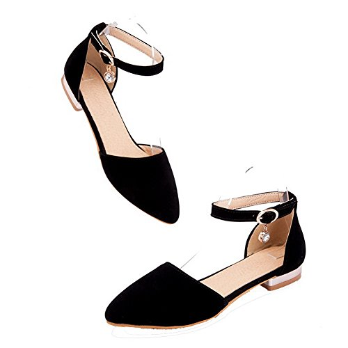 Odomolor Women's PU Buckle Pointed Closed Toe Low-Heels Solid Court Shoes Black yWolhnYbv1