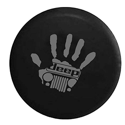 Stealth - Jeep Wave Handprint Grill Wrangler Club Spare Tire Cover OEM Vinyl Black 32-33 in