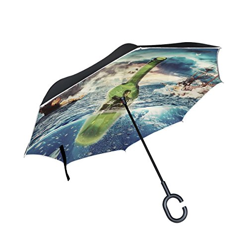 TIANYUSS Double Layer Inverted Pirate Bottle Boat Marin Sea Ocean Mounting Umbrellas Reverse Folding Umbrella Windproof Uv Protection Big Straight Umbrella For Car Rain Outdoor With C-shaped Handle