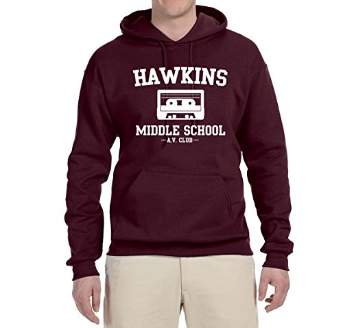 Hawkins Middle School AV Club | Mens Pop Culture Hooded Sweatshirt Graphic Hoodie, Maroon, Large