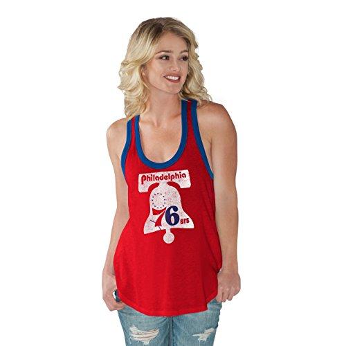 NBA Philadelphia 76ers Women's Power Play Color Block Tank Top, Large, Red