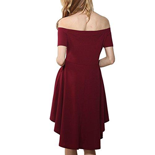 Elegante Vestido para Mujer Corto Largo Skater cuello barco Vestido de verano Sin Hombros Irregular Vestido de Cóctel Rojo