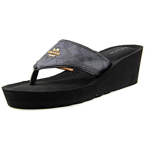 Coach Janice Womens Thong Wedge Leather Sandals, Black/Smoke, Size (Leather Wedge Thong Sandals)