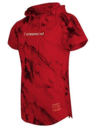 SCREENSHOT SCREENSHOTBRAND-S11708R Mens Hip Hop Longline Premium Tee - Pullover Hooded Fashion T-Shirt w/Center Logo Side Zipper Marble Print - Red - 2XLarge