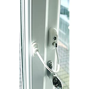 Window Door Restrictor Cable, Security Lock And Key, Baby/Child Safety, Multiple Colors - White