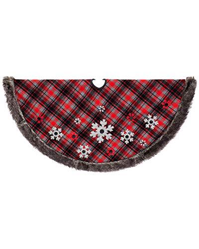 """Kurt S. Adler 48"""" Plaid Snowflake Design Tree Skirt from Kurt Adler"""