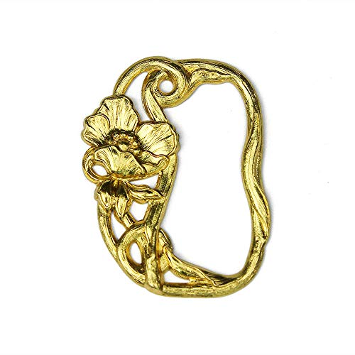 FLEUR Stamped Art Nouveau Pinless Buckle, Gold, Made in France (Art Nouveau Buckle)