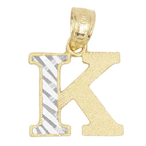 10k Real Solid Gold Two Tone Initial Pendant with Diamond Cut Finish, Available in Different Letters Personalized Letter Jewelry Gifts for Her (K) Dark Two Tone Finish