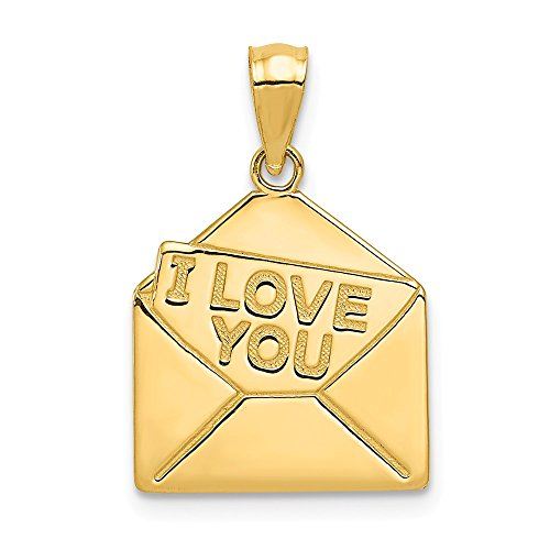 14k Yellow Gold I Love You Letter Pendant Charm Necklace S/love Message Fine Jewelry Gifts For Women For Her ()