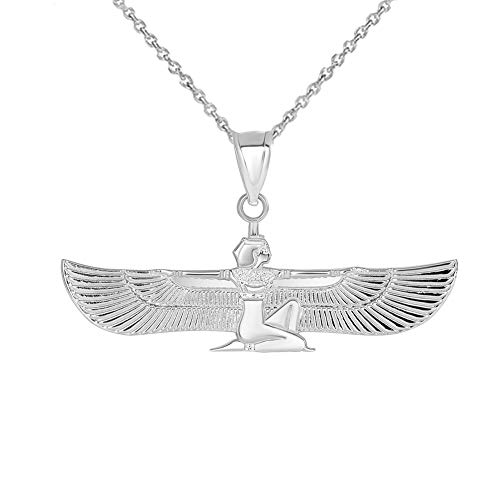 925 Sterling Silver Egyptian Winged Goddess Isis Charm Pendant Necklace, 16