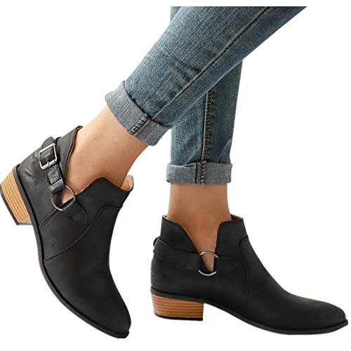 vermers Women Fashion Pointed Toe Boots - Women Casual Classic Ankle Boots Shoes(US:9, Black) ()