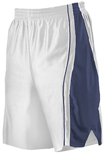 (Women's Long Basketball Shorts by Alleson (XX-Large, Wht/Navy))