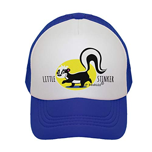 Stinker Skunk - JP DOoDLES Little Stinker Skunk on Kids Trucker Hat. Kids Baseball Cap is Available in Baby, Toddler, and Youth Sizes.… (Royal Blue, Mini (12-24 Months))