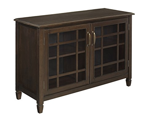 Simpli Home Connaught Low Storage Cabinet, Dark Chestnut Brown