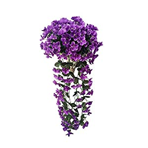 MARJON FlowersArtificial Flowers, 1 Bunches Fake Flowers Artifical Violet Hanging Garland Ivy Vine Floral Plant Leaves Wedding Garland for Home Party Garden Wall Floral Decor Decoration 1