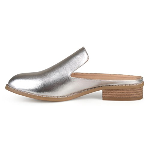 Brinley Co Womens Slide-On Stacked Heel Comfort-Sole Faux Leather Mules Silver c9pfvIS