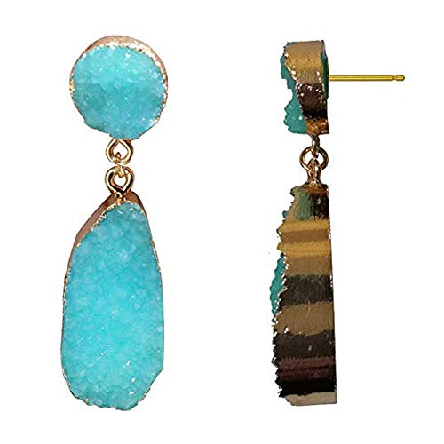 New! Druzy Stud Drop Dangle Earrings for Women Turquoise Blue Stud Dangling Earrings Lightweight Earrings Faux Druzy Earrings