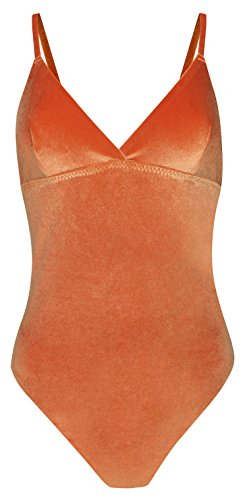 Real Women's V Plunge Unpadded Wire-Free Adjustable Straps Thong Back Bodysuit with Fusion Technology (S, Rust Velvet) (Body Spandex Whole)