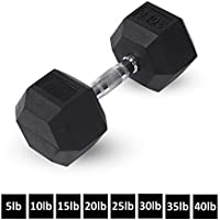 Rubber Hex Dumbbells by Day 1 Fitness – 8 Sizes...