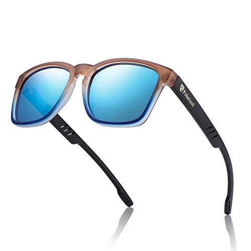 Hu Wood Polarized Sunglasses For Women Mens UV 400 Protection Classic Brand Designer Sun Glasses (Brown and Blue/Blue Mirror Len)