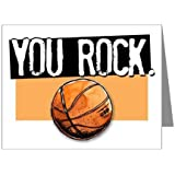 "Play Strong BASKETBALL You ROCK. Note Cards (4.25""x5.5"") 12-PACK Sports Powercard Greeting Card Stationery Clear 12-Pack Set #AllProfitsToHelpKids"